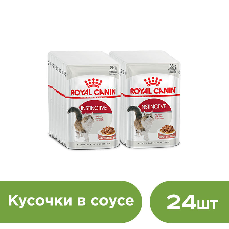 Cat wet food Royal Canin Instinctive slices in sauce (0.085 kg*24 pieces) cat wet food royal canin instinctive 7 spider for cats over 7 years old pieces in sauce 24 85 g