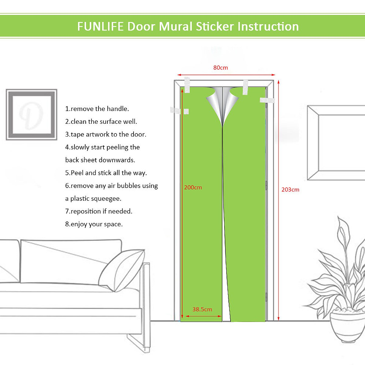 2Pcs Home Wall Door 3D Stickers Decoration Imitation Library universal Door stickers Bedroom Decor