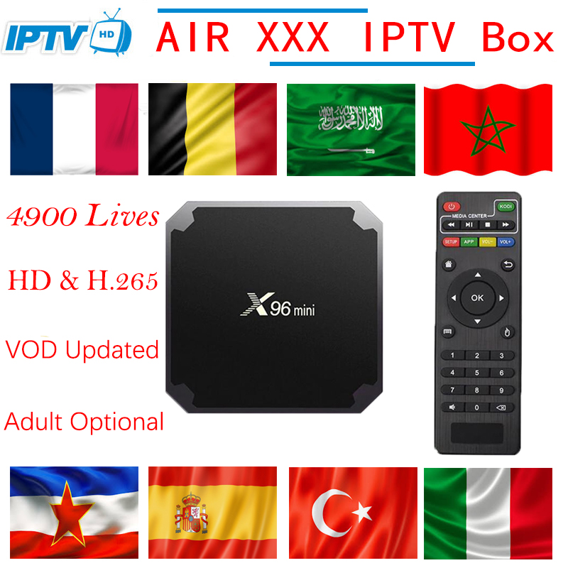 L'europe Adulte IPTV X96 Mini 4 k Android 7.1 TV Box + IPTV France Nordique Arabe Belgique Néerlandais ROYAUME-UNI Turquie italia Portugal smart tv box