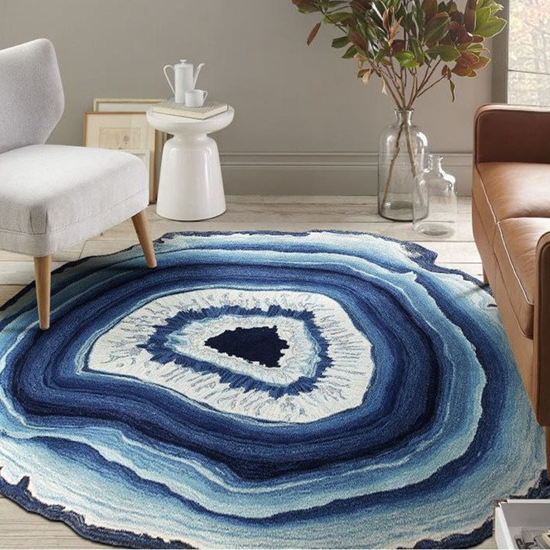Tree Rings Wood Stripe Country Style Carpet Rug Multisize Purple Blue Lake Living Room Rugs Kids