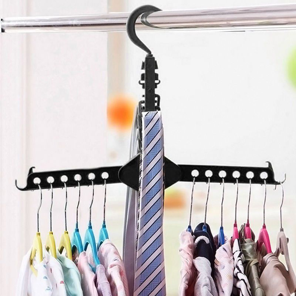 Magic Multi Dual Clothes Hanger Folding Hook Coat Rack Wardrobe Organizer ...