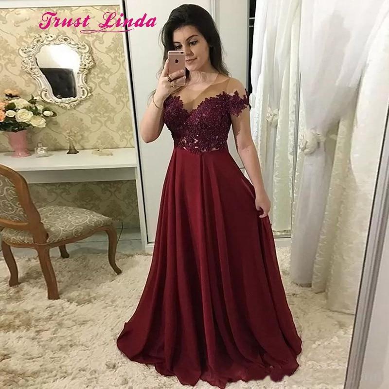 Graceful Red Carpet Dresses Burgundy Wedding Dress Bride Mother Illusion Neck Floor Length Beaded Wedding Mother Dress