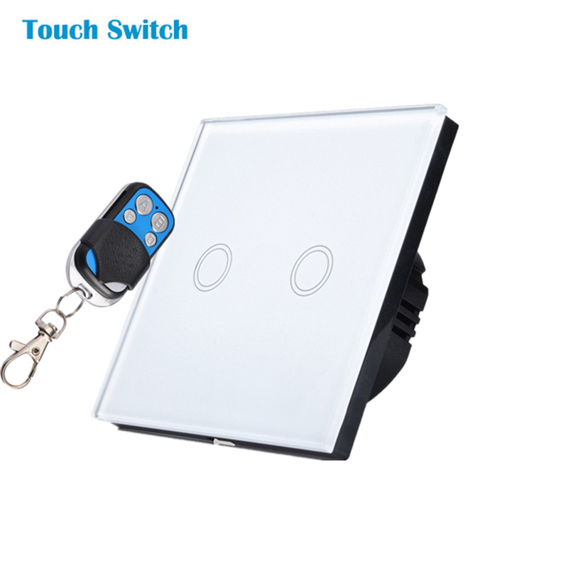 Free Shipping, EU Standard touch Remote Switch, White Crystal Glass Panel, 170~240V Wall Light Remote&Touch Switch 2017 free shipping smart wall switch crystal glass panel switch us 2 gang remote control touch switch wall light switch for led