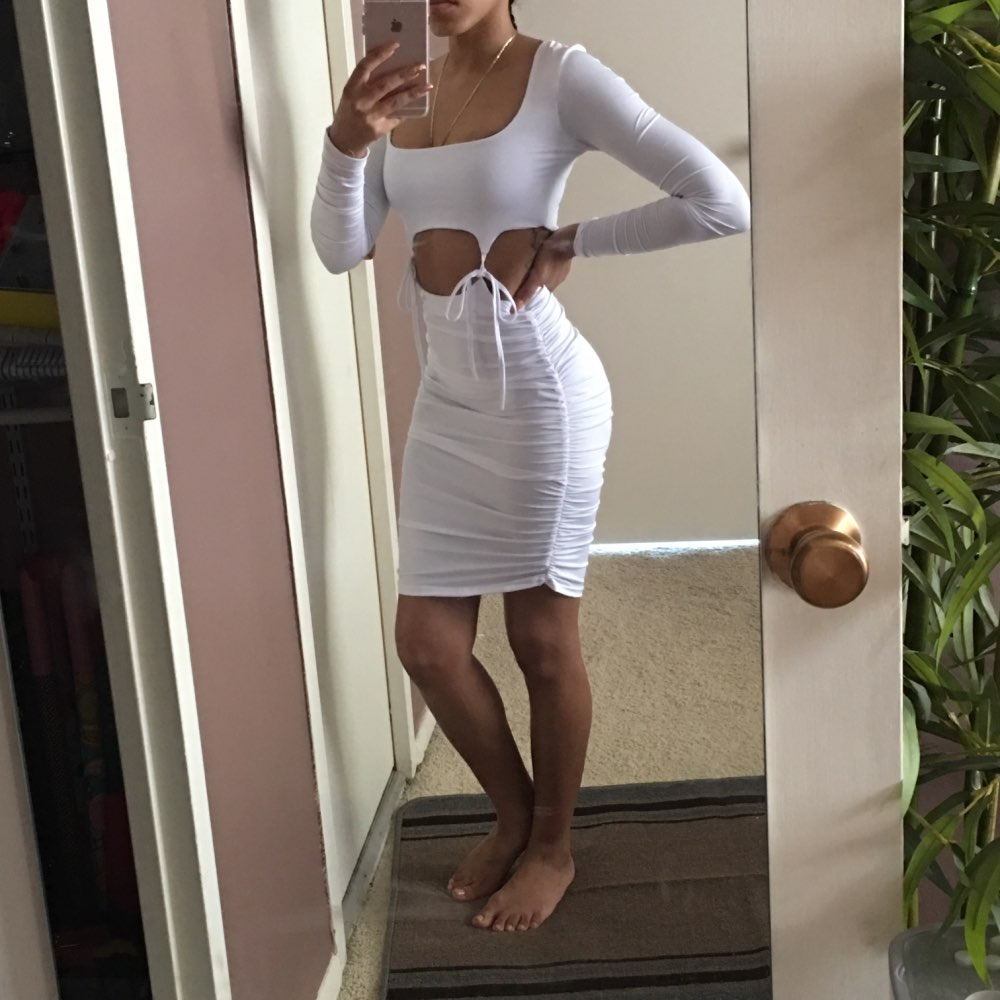 Hollow Out Drawstring Mini Sexy Women Dress Long Sleeve Pleated Autumn Party Dress Solid Beach Ladies Casual Dresses photo review