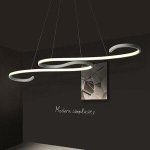 Image 2 - S Shape Black or White Finish Modern led chandeliers for Dining Room Kitchen Room Hanging Pendant chandelier fixtures 110V 220V