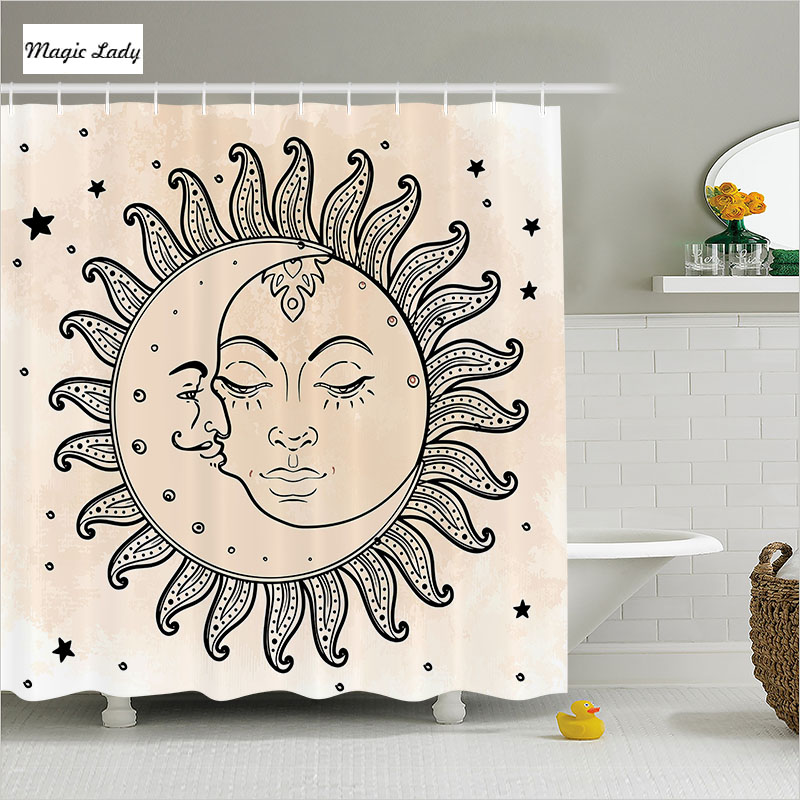 Shower curtain fabric bathroom accessories sun moon starts for Bathroom decor collections