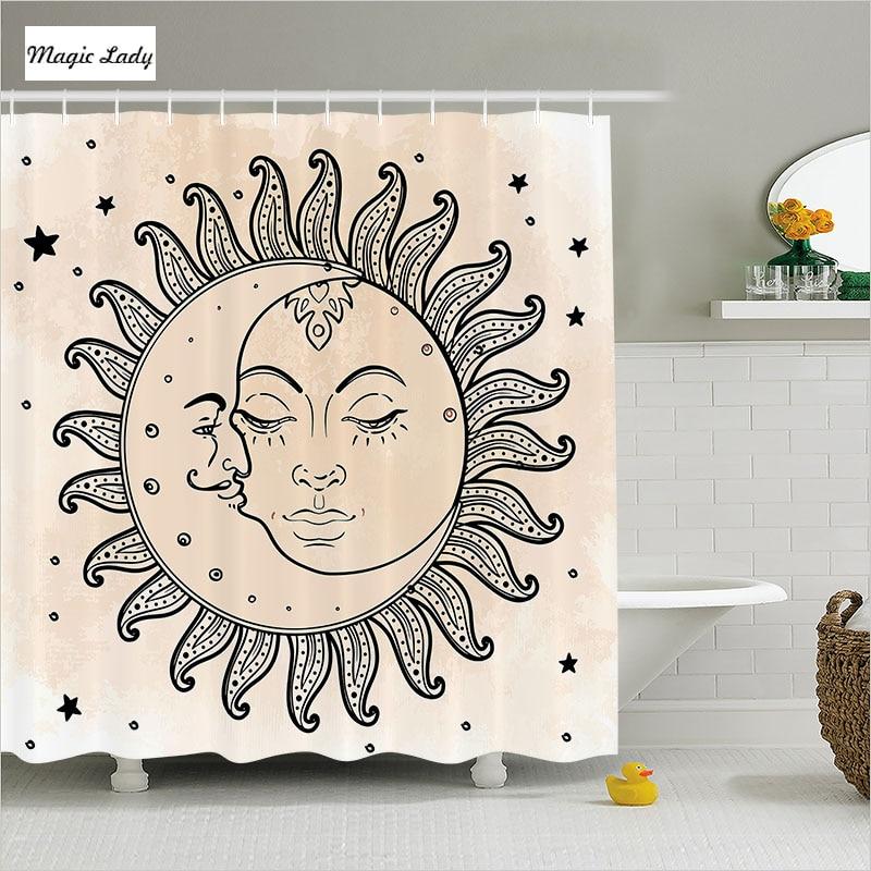Shower curtain fabric bathroom accessories sun moon starts for Zodiac bathroom accessories