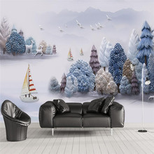 3D embossed artistic landscape scenery wall decoration painting custom wallpaper mural
