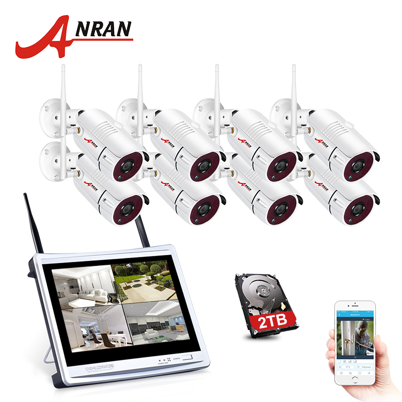 ANRAN 8CH Video Surveillance Camera System 1080P HD IP Camera Outdoor Night Vision CCTV Wireless Security Camera System