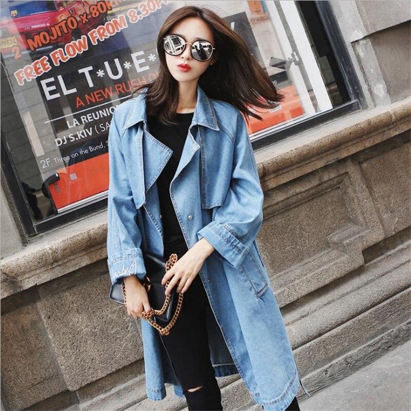 Femmes Manteaux 2018 Jeans Coupe Tranchée Avec Longue Ceinture Blue Outwear Manteau De Femme Bouton Printemps vent Denim Femelle Cm2759 Lâche 9I2DWEHeY