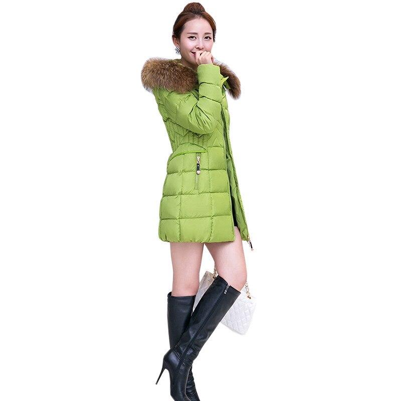 Женские зимние куртки хлопка Длинный отрезок с капюшоном верхняя одежда мода меховой воротник толстые теплые Пальто женщина