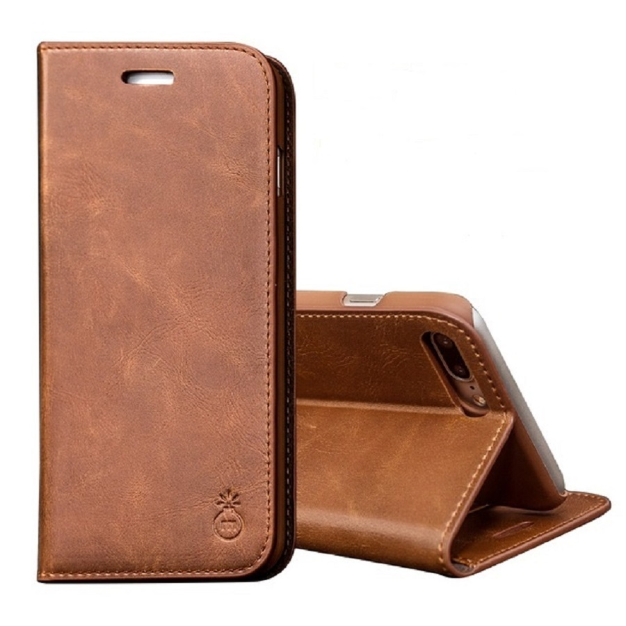Musubo Genuine Leather Flip Stand Case For iPhone 8 Plus 7 Plus Luxury Magnet Wallet Cover
