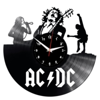 ACDC Wall Clock Vinyl Vinyl Record Retro Clock Handmade Vintage Gift Style Room Home Decorations Great Gift Clock