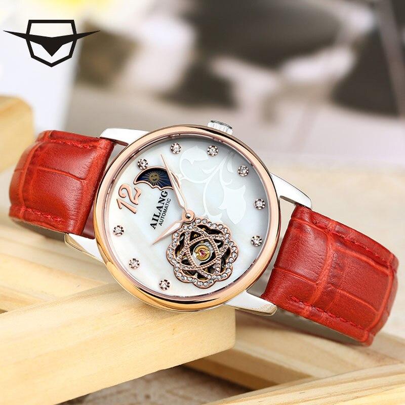Фотография elojes AILANG Women Watches Luxury fashion brand Moon Phase Mechanical Waterproof Leather Ladies Gold Watches Clock