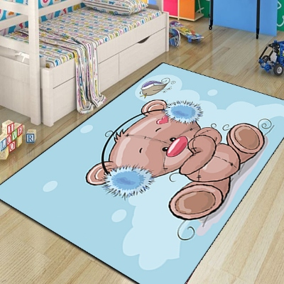 Else Blue Floor Brown Funny Bears Snow Earbuds 3d Print Non Slip Microfiber Children Kids Room Decorative Area Rug Kids  Mat