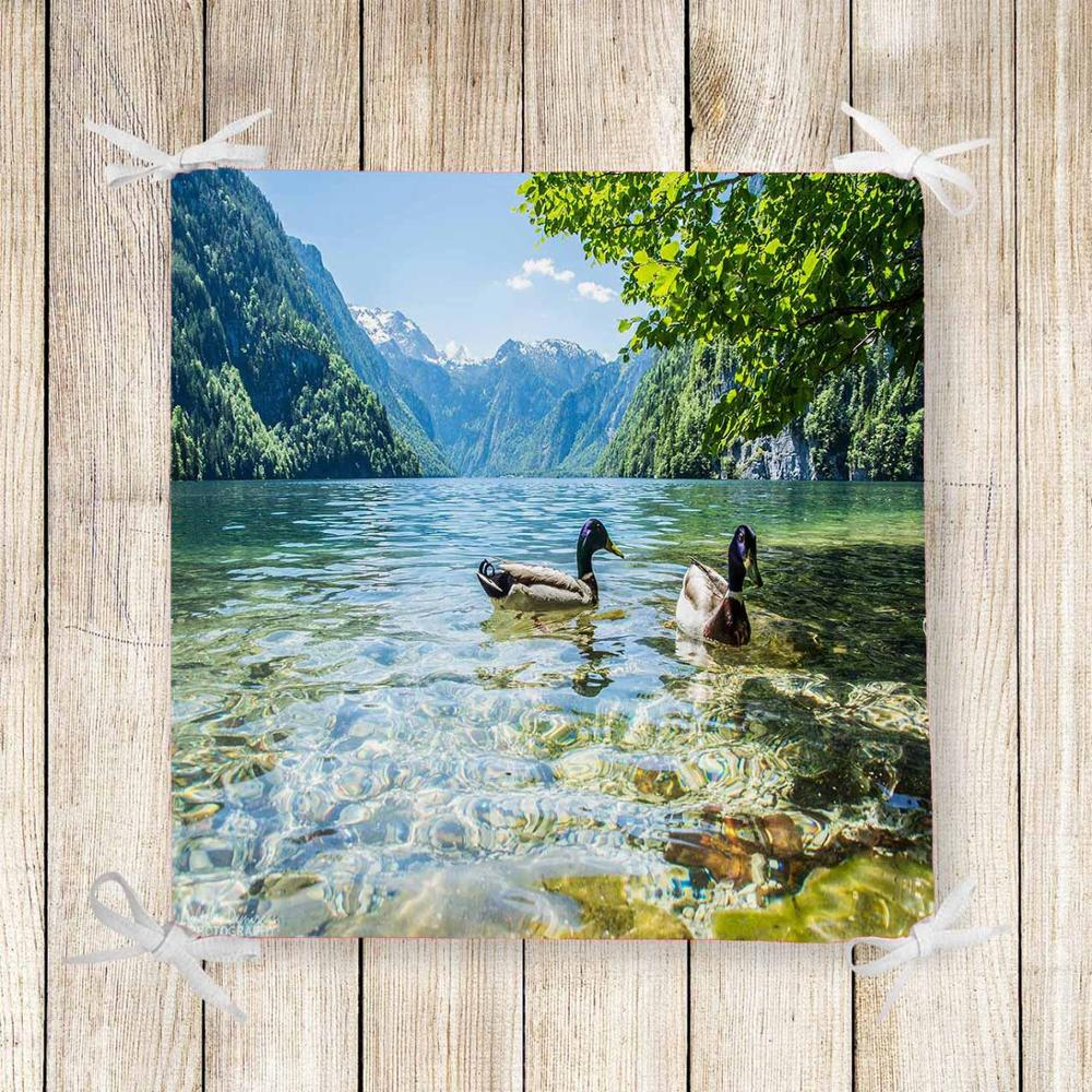 Else Green Lake On Ducks Landscape 3d Print Chair Pad Seat Cushion Soft Memory Foam Full Lenght Ties Non Slip Washable Zipper