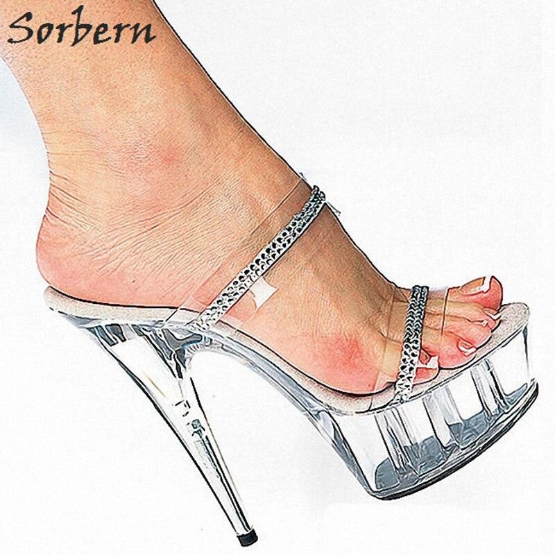 Sorbern Transparent Clear Pvc Slippers Women Open Toe Perspex High Heels 15Cm See Through Platform Shoes Summer Heels Open Toe цены онлайн