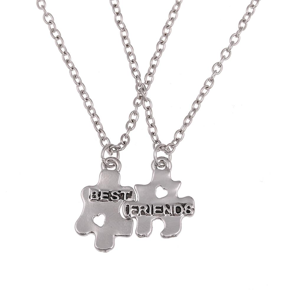 BFF Best Friends Forever Letters Broken Puzzle Necklace Set Clavicle Chain Engraved Choker Pendants Necklace 2 pc/set