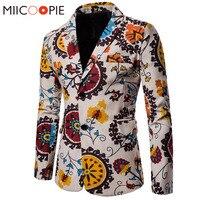 Men Blazers 2018 New Men Suit Jacket Cotton Linen Nationality Floral Printed Coat Casual Blazer Masculino Jacket 4XL
