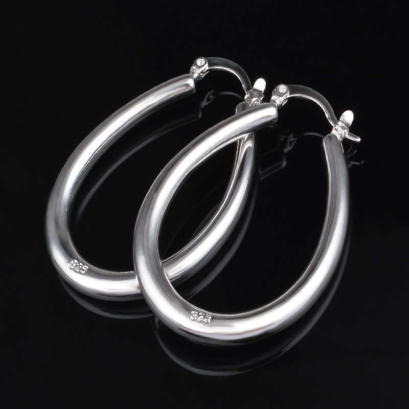 Detail Feedback Questions about Promotion 1pair 925 Stamp Silver Women  Party Punk Jewelry Round Circle Loop Gifts Simple 2.8 3.9cm Hoop Earrings  Bijoux ... a6bd8a67a230