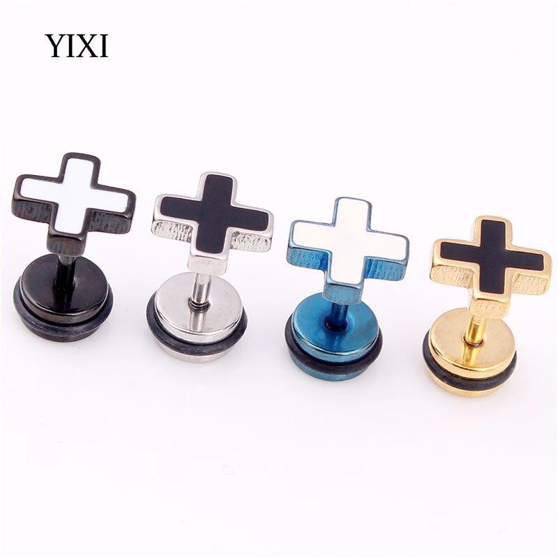 YIXI 8mm Fashion Cross Earrings Gold Silver Black Punk Stainless Steel Titanium Earrings Stud Barbell Ear Piercing For Women Men