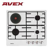 Встраиваемая варочная панель AVEX NS 6030 W, 3 газовые конфорки и 1 электрическая, металические решетки, электро-поджиг, поверхность эмалированный белый металл