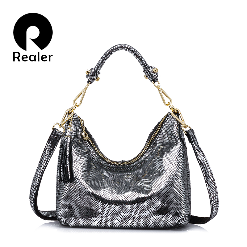 b136a31d9780 REALER brand women handbag genuine leather Chain shoulder bag serpentine  pattern fashion casual tote bag lady crossbody small -in Shoulder Bags from  Luggage ...