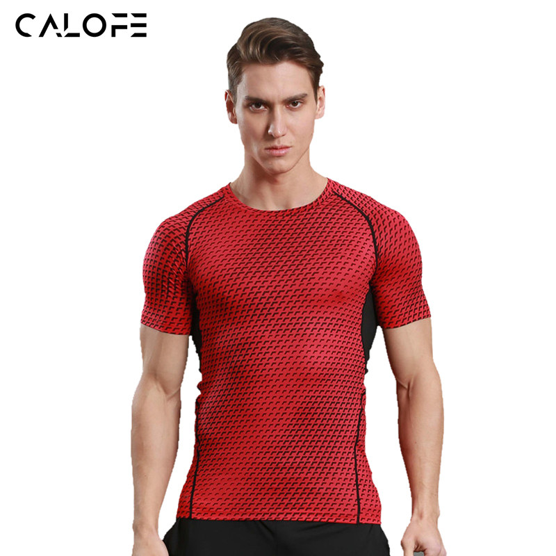 CALOFE Tight Compression Shirts Men Running T-shirts Anti-sweat Quick Dry Elastic Basketball Jersey Short Sleeve Fitness Top Z30