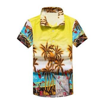 Summer Men Hawaiian Cotton Shirt Male Casual Vacation Printing Beach Shirts Short Sleeve Hawaii camisa masculina Plus Size 5XL vacation