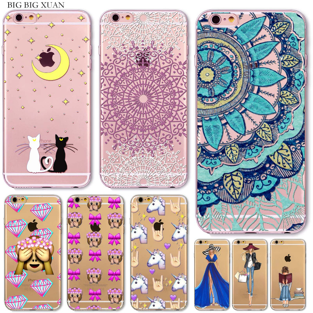 0bcbf05e5af For iPhone 5 5S SE 6 6s 6Plus 6SPlus Phone Case Cover Fashion Girl Cute  Emoji