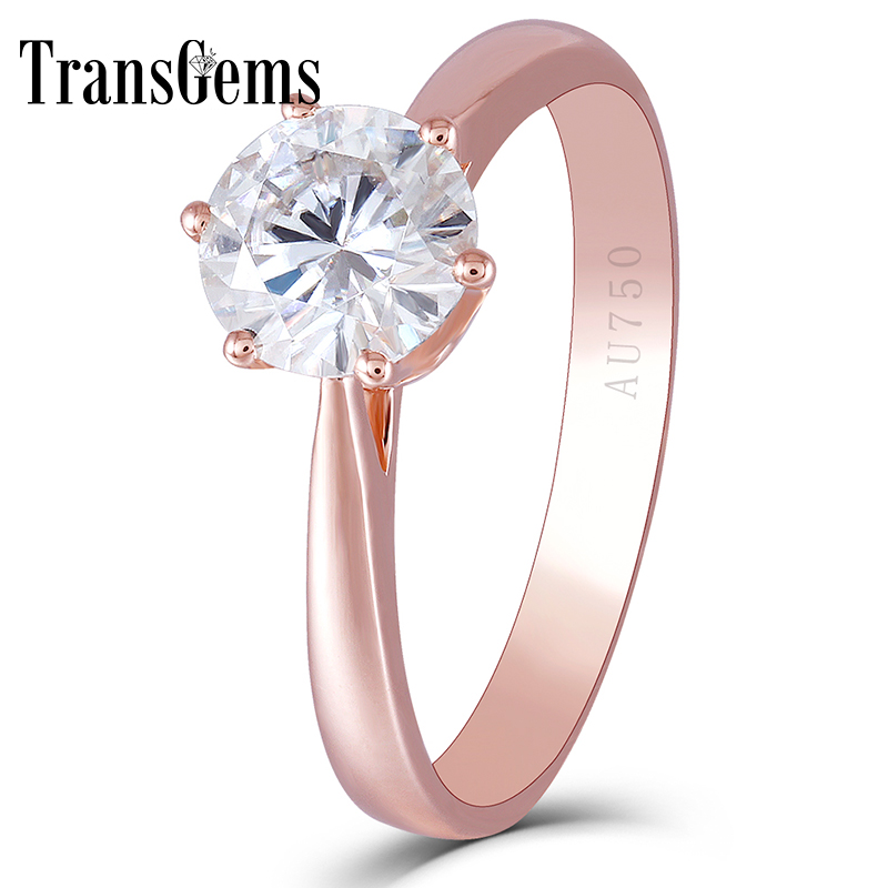 Center 1ct Rose Gold Emagement Ring for Women 14K Rose Gold 1 Carat 6.5MM F Color Moissanite Diamond Solitare Setting Ring helon solid 18k 750 rose gold 0 1ct f color lab grown moissanite diamond bracelet test positive for women trendy style jewelry
