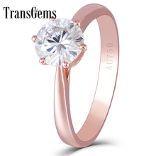 Transgems Center 1ct Rose Gold Emagement Ring for Women 14K 1 Carat 6.5MM F Color Moissanite Diamond Solitare