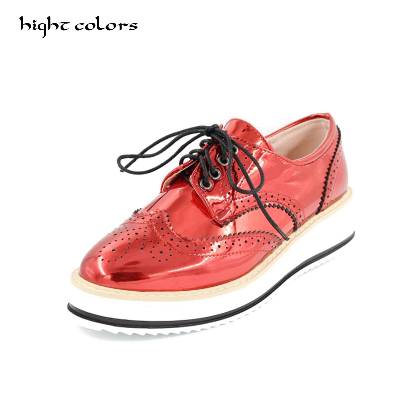 Brand Spring/Autumn Women Platform Shoes Woman Brogue Patent Leather Flats Lace Up Footwear Female Flat Oxfords For Women women brogue shoes lace up oxfords for women black white platform shoes woman beading thick bottom pu leather flats plus size 43