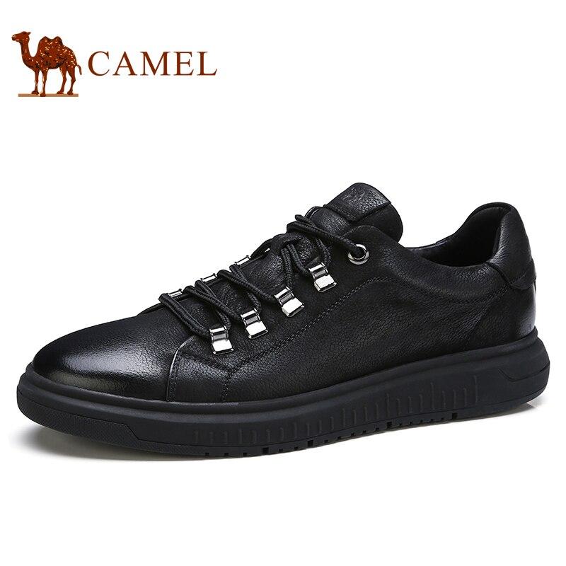 Верблюд Для мужчин обувь осень натуральная кожа Повседневное мода на шнуровке черный человек обувь мокасины из коровьей кожи мужская обувь