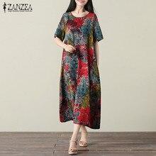 Плюс размер L-5XL 2018 ZANZEA женские летние Vestido цветочным принтом в стиле ретро с круглым вырезом с короткими рукавами длинная рубашка платье случайные свободные сарафан