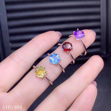 KJJEAXCMY boutique jewelry 925 sterling silver inlaid natural garnet topaz amethyst citrine female luxury ring support detection natural garnet blue topaz amethyst silver bracelet 8 pieces of oval 4mm 6mm beautiful color and fashion design