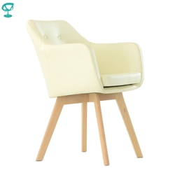K100WdPuBeige Barneo K-100 eco-leater Interior lounge chair Furniture living room chair wood legs Beige free shipping in Russia