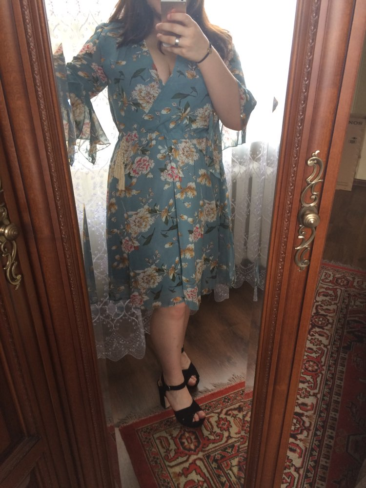 Chiffon High Elastic Waist Party Dress Bow A Line Women Butterfly Sleeve Flower Print Floral Boho Dress Female Vestido Plus Size photo review