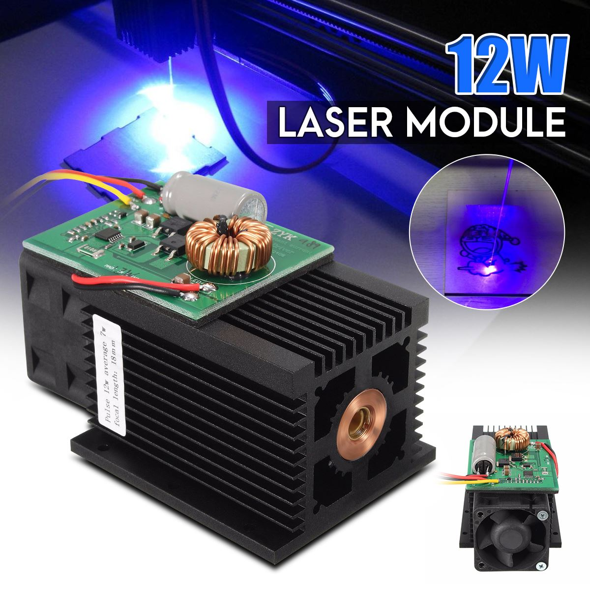 12W Blue Light Laser Module 450nm TTL Blue Laser Head DC 12V High Power for Mini DIY Metal Wood Engraving Cutter Machine blue laser head engraving module wood marking diode 2 5w glasses circuit board for engraver wood metal plastic carving mayitr