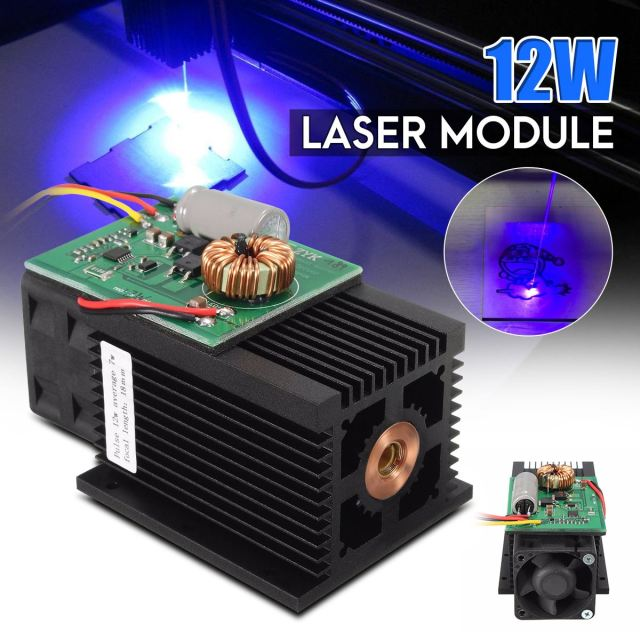 12W Blue Light Laser Module 450nm TTL Blue Laser Head DC 12V High Power for Mini DIY Metal Wood Engraving Cutter Machine