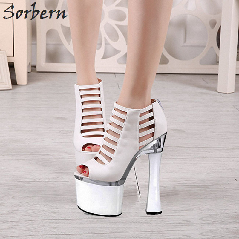 Sorbern 15Cm/17Cm/18Cm/20Cm Gladiator Sandals For Women Ultra High Heels 2018 New Summer Shoes Ladies Sandals Open Toe Heels 18cm women gladiator sandals vintage design ankle straps open toe summer shoes thick high heels sandals