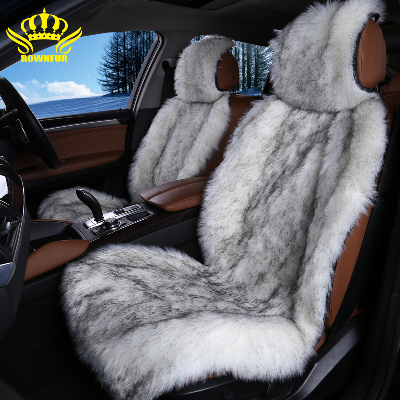 Stupendous 2Pc The Front Car Seat Protector Material Long Faux Fur Alphanode Cool Chair Designs And Ideas Alphanodeonline