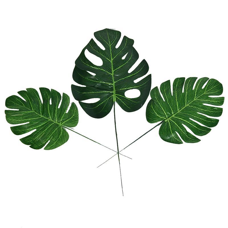 Image 5 - 10pcs Artificial Plants Monstera Palm Tropical Plant Green Leaves Home DIY Decoration Wedding Party Office Store Decorations-in Artificial & Dried Flowers from Home & Garden