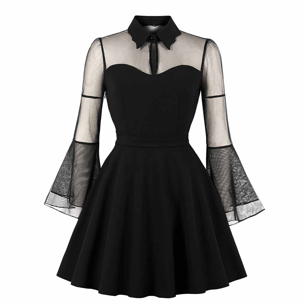 Women Mini Dresses Casual Elegant Black Gothic Plus Size Aline Flare Sleeve Mesh Red Spring Office Lady Sexy Female Goth Dress