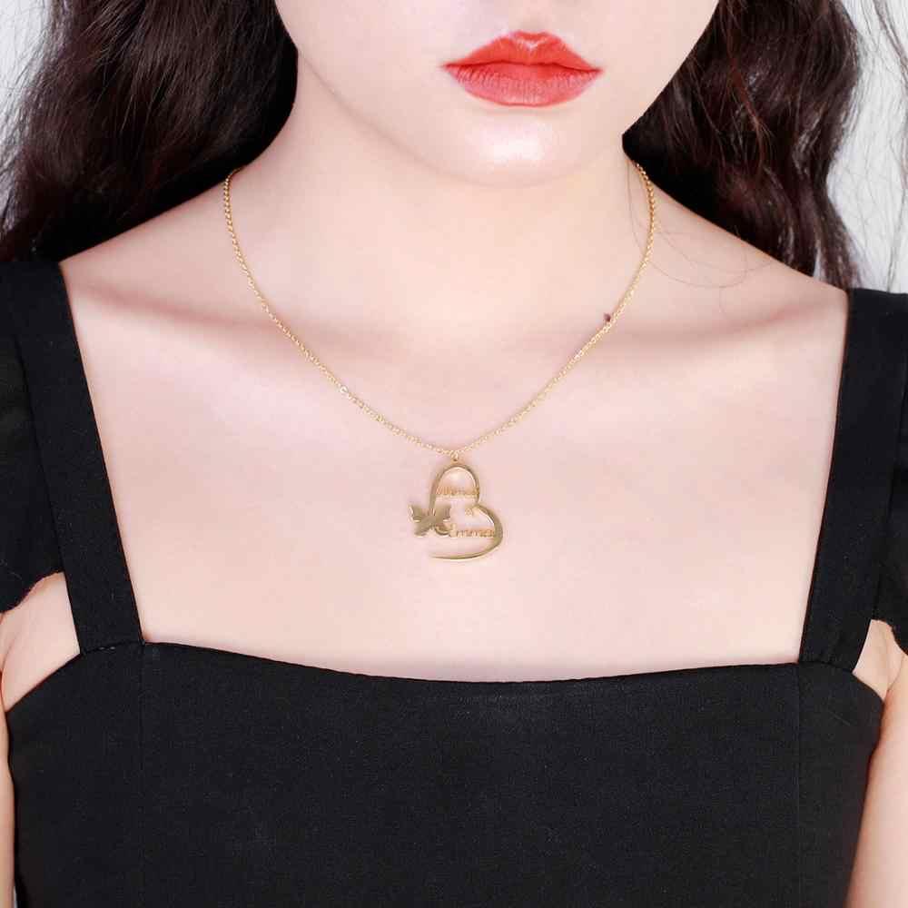 Handmade แฟชั่นผีเสื้อหัวใจจี้ CUSTOM ชื่อสร้อยคอวันแม่ของขวัญ Gold เงิน Choker เครื่องประดับของขวัญ
