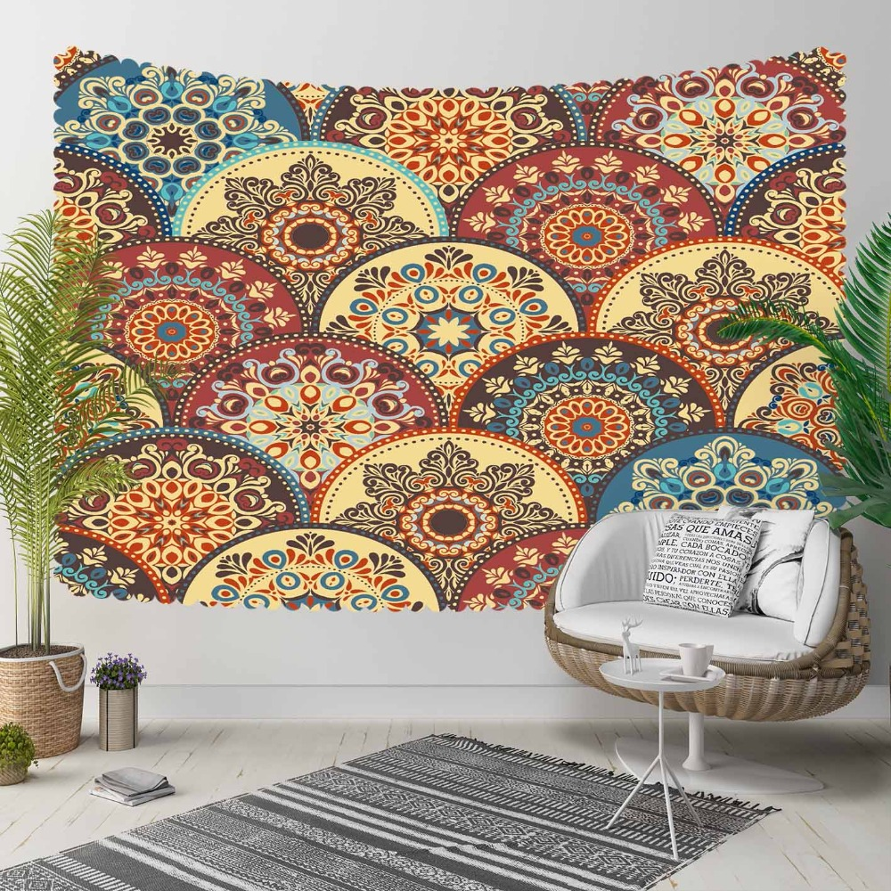 Else Ottoman Brown Yellow Red Circle Geometric Retro 3D Print Decorative Hippi Bohemian Wall Hanging Landscape Tapestry Wall Art