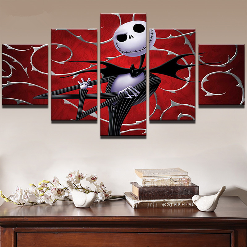 Canvas Print 5 Panel Movie Nightmare Before Christmas Abstract Painting Wall Art Decor Picture Modern Artwork Poster Living Room in Painting Calligraphy from Home Garden