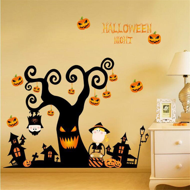 Halloween night wall stickers DIY terrible tree house ghost house ...