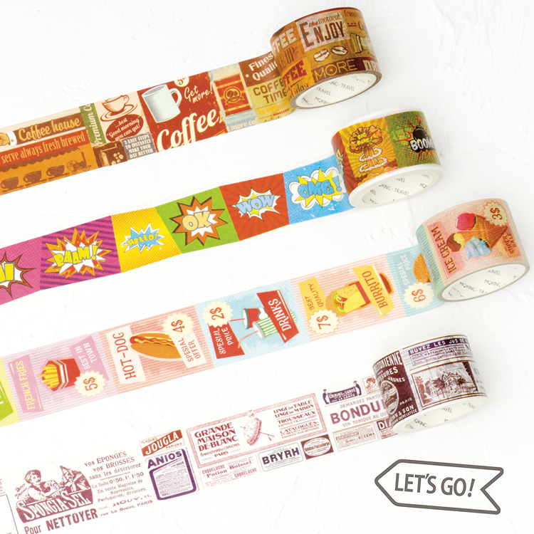 30mm X 5M Masking Tape Vintage Style Office Adhesive Tape Scrapbook Decorative Tape Retro Series Coffee Coupon Beautify Life