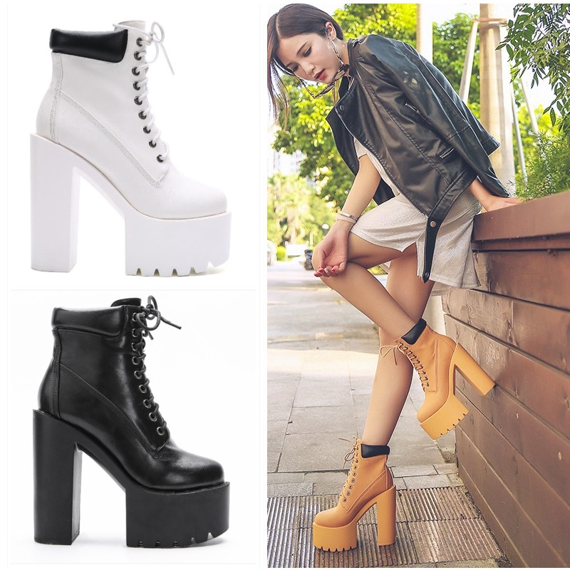 New European and American fashion trend with the thick with high heeled waterproof platform women s
